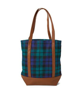 Canvas Tote Bag-Green Plaid