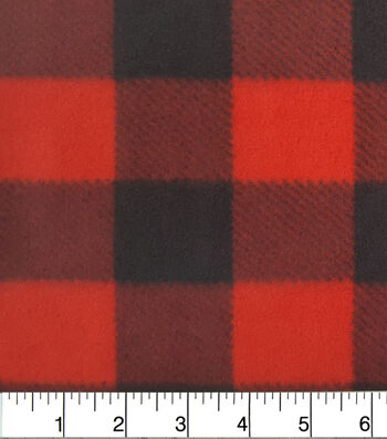 Anti-Pill Fleece Fabric 59''-Red & Black Buffalo Check