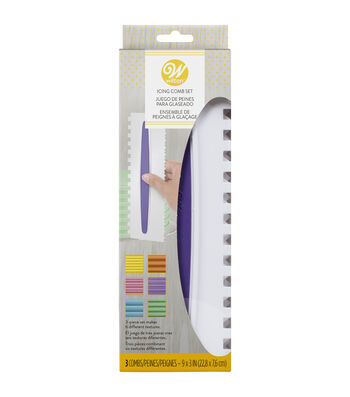 Wilton Icing Comb 3 Piece Set-2 Designs Per Icing Comb