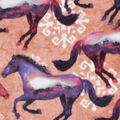 Anti-Pill Plush Fleece Fabric-Double Exposure Horses