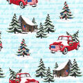 Christmas Cotton Fabric-Snowy Red Truck Scene