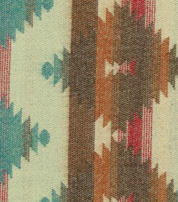 Southwest Apparel Fabric- Aztek Gray Turquoise Jacquard Acrylic