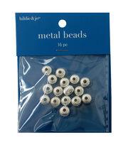 8mm x 5mm Corrugated Silver Bead, 16pcs., , hi-res