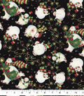 Christmas Cotton Fabric-Christmas Lights & Snowman