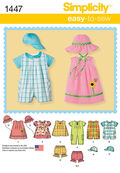 Simplicity Pattern 1447A Infants\u0027 Sportswear Outfits-Size XXS-L