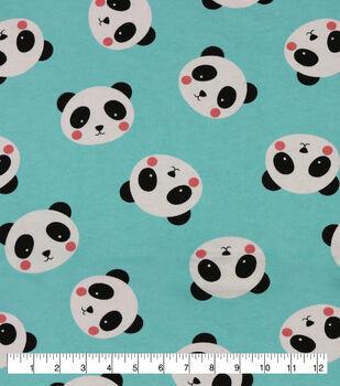 Super Snuggle Flannel Fabric-Panda Faces On Aqua