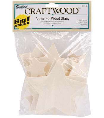 Asst Wood Stars Cuto
