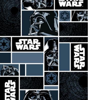 Star Wars Fleece Fabric 58''-Darth Vaders in Blocks