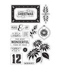 Basic Grey Evergreen Clear Stamps By Hero Arts-Peace & Joy Christmas