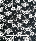 Stretch Crepe Knit Fabric-Black & White Mod Floral