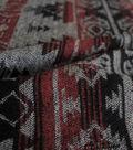Boho Style Jacquard Fabric 57\u0022-Red & Black Aztec