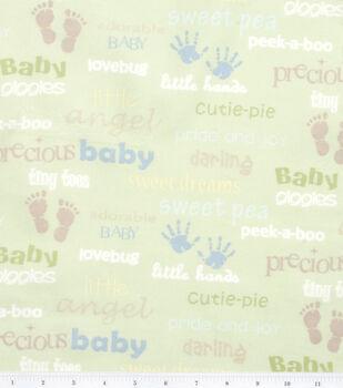 Nursery Flannel Fabric -Oh Baby Words