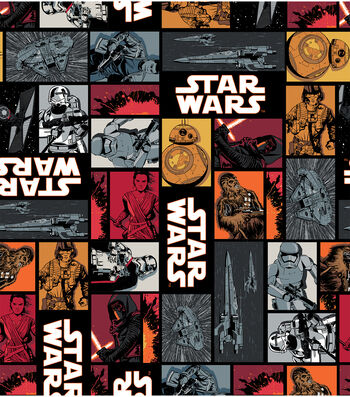 """Star Wars: The Force Awakens Cotton Fabric 44""""-Characters in Block"""