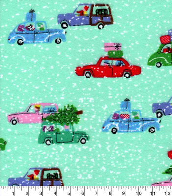 Luxe Flannel Fabric -Holiday Cars On Aqua