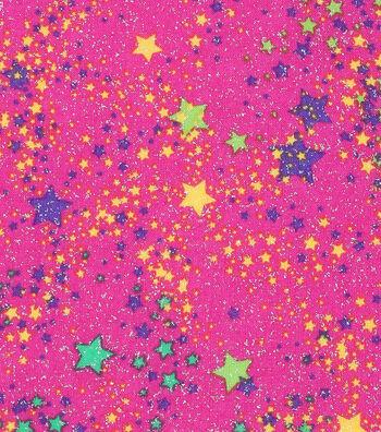 Mardi Gras Cotton Fabric-Stars Pink Glitter