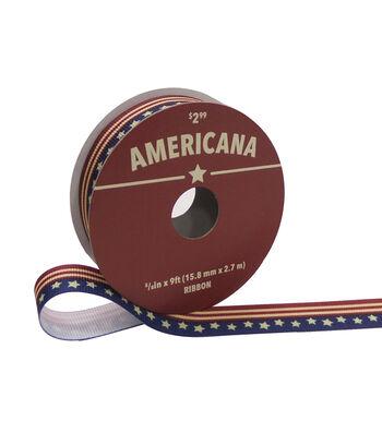 "Americana Printed Ribbon 5/8""x9'-Flag"
