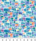 Premium Cotton Fabric -Speckled Squares Teal Pearl