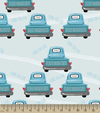 Just Married Truck Honk For Love Print Fabric