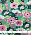 Doodles Cotton Interlock Fabric-Turquoise Mod Floral
