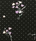 Silky Stretch Chiffon Fabric-Black Purple Floral Pink Dot