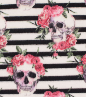 """Anti-Pill Plush Fabric 58""""-Skulls on Black & White Stripes"""
