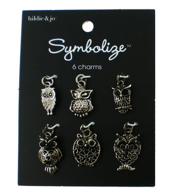 hildie & jo Symbolize 6 pk Owl Charms-Silver