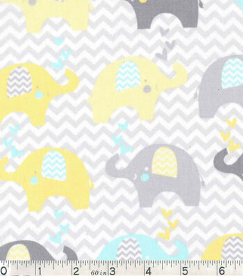 Nursery Cotton Fabric -Dream Big Elephant Line