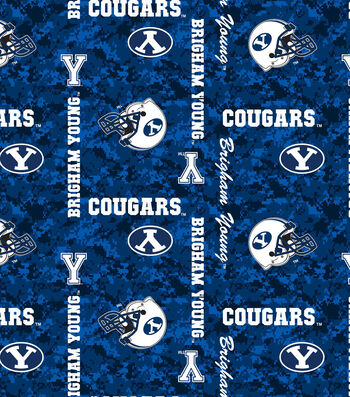 Brigham Young University Cougars Fleece Fabric -Digital