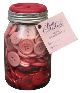 Button Collector Mason Jar-Red Ombre