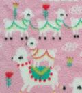 Anti-Pill Fleece Fabric 59\u0022-Festive Llamas Pink