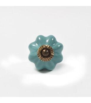 Dritz Home Ceramic Scallop Knob-Turquoise