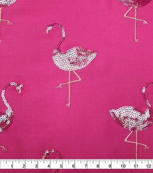 Sew Sweet Dahlia Polyester Fabric-Summer Flamingo