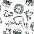 Nursery Flannel Fabric-Sweet Safari Tossed Animals