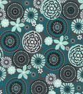 Quilter\u0027s Showcase Cotton Fabric 44\u0027\u0027-Gray & Teal Floral Medallion