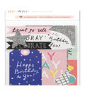 Crate Paper Hooray 40 pk Ephemera Die-cut Cardstock with Glitter Accents