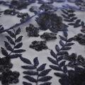 Embroidered Sequin Mesh Fabric-Mazarine Blue Leaf