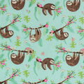 Super Snuggle Flannel Fabric-Floral Hanging Sloths