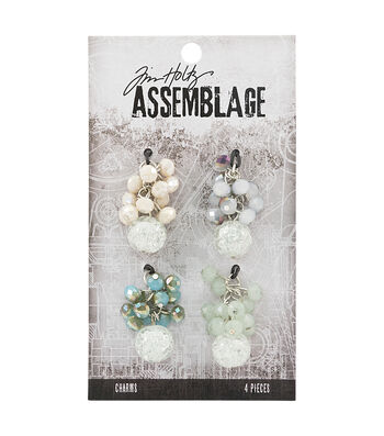 Tim Holtz Assemblage 4 Pack 1''x1.25'' Beaded Cluster Charms