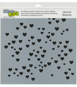 the crafters workshop 12x12 stencil micro hearts
