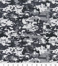 Snuggle Flannel Fabric -Black & White Digital Camouflage