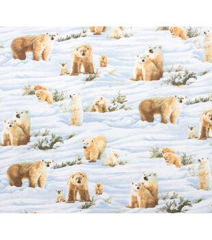 Super Snuggle Flannel Fabric-Photo Real Polar Bears
