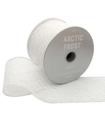 Maker's Holiday Arctic Frost Glitter Mesh Ribbon 2.5''x25'-White
