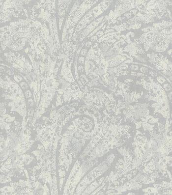 Waverly Upholstery 8x8 Fabric Swatch-Burnished Scroll/Platnium