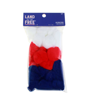 Land of the Free Pom Poms 30/Pkg-Americana