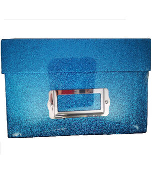 Photo Storage Box-Blue Glitter