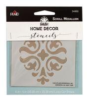FolkArt Home Decor 4''x4'' Laser Cut Stencil-Scroll Medallion, , hi-res