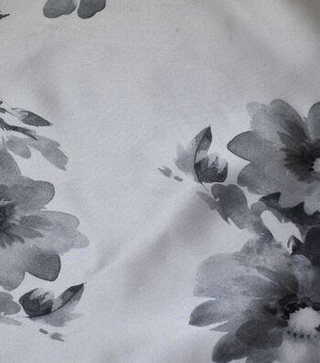Gianna Printed Satin Fabric 54''-Abstract Floral on White