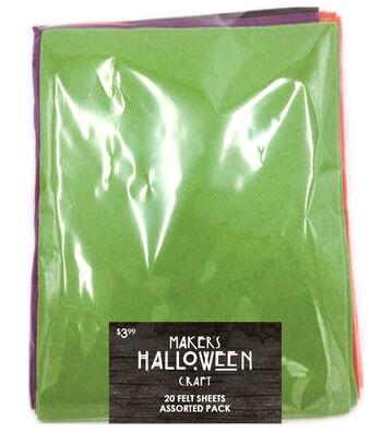 Maker's Halloween 20pc Felt Sheets Assorted Colors