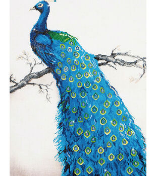 "Diamond Embroidery Facet Art Kit 25.2""X34.5""-Blue Peacock"