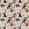 Snuggle Flannel Fabric-Quirky Puppies on Tan